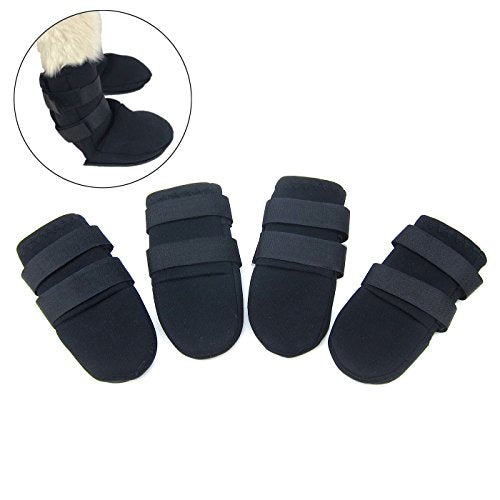 Alfie Pet by Petoga Couture - Grayson All Weather Set of 4 Dog Boots - Color Black, Size: Large