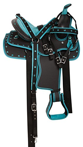 """10"""" 12"""" 13"""" YOUTH KIDS SEAT TURQUOISE SYNTHETIC LIGHT WEIGHT WESTERN  PLEASURE TRAIL HORSE SADDLE TACK SET PACKAGE (12)"""