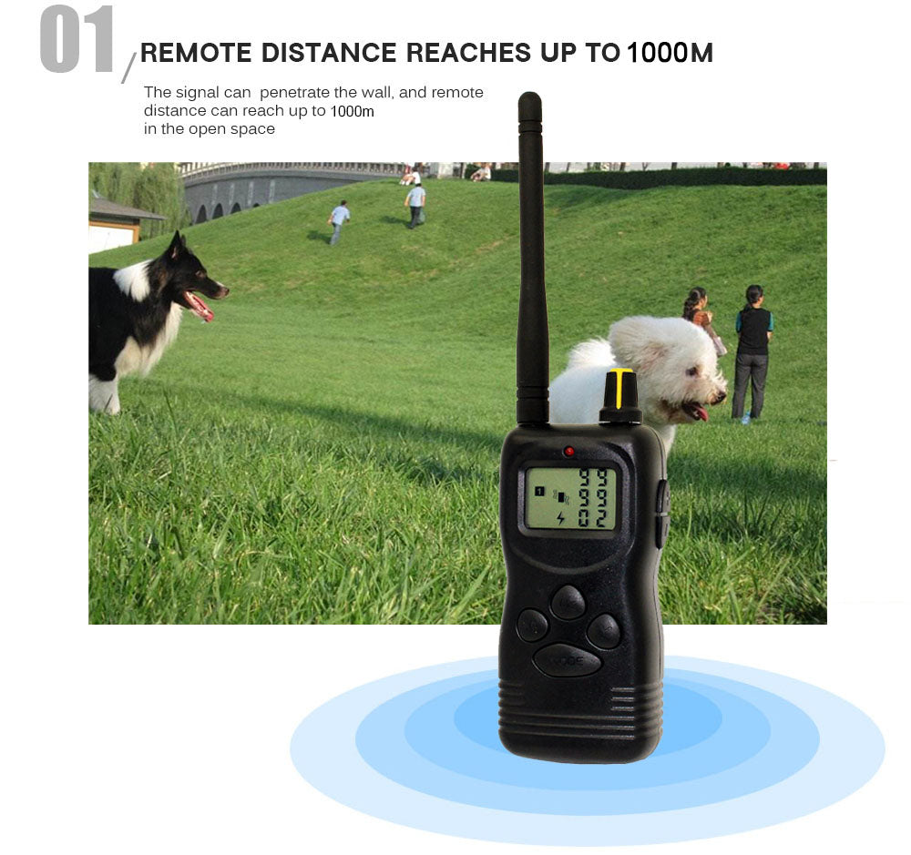45pcs Dog Pet Stop Barking Waterproof Rechargeable 1000M Remoter LCD Display Training Collars with retail package pet900B 900B
