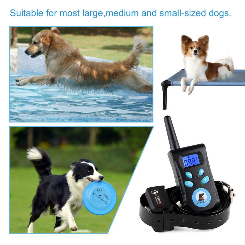 500M Electric Pet Dog Training Collar Trainer Remote Control Waterproof Shock Vibration Light Word Command Dog Training Device