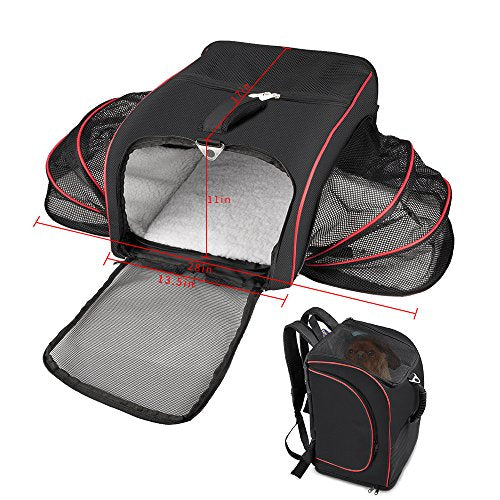 Airline Approved Pet Carrier, Siivton Pet Travel Carrier Backpack Under Seat TWO SIDE Expansion Portable Soft Sided Air Travel Bag for Cats, Dogs, Small Animal Carrier