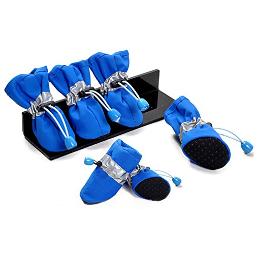Lanlanlan Pet Dog Shoes Feetwear Rain Boots Waterproof Rain Shoes Indoor Shoes Pet Products Dog Clothes pack of 4 BLUE L