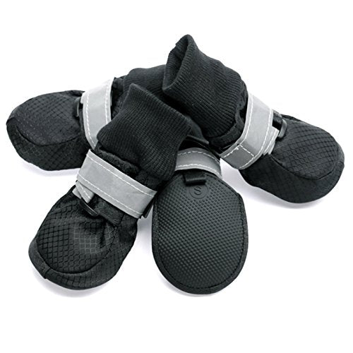 Alfie Pet by Petoga Couture - Howard All Weather Set of 4 Dog Boots - Color Black, Size: Large