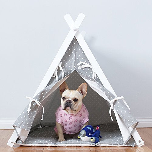 pretty nice 7ec93 f05b1 little dove Dog Teepee Large Pet Tent Furniture Cat and Dog Bed With Pad 35  Inch Grey Cover and Grey Pad