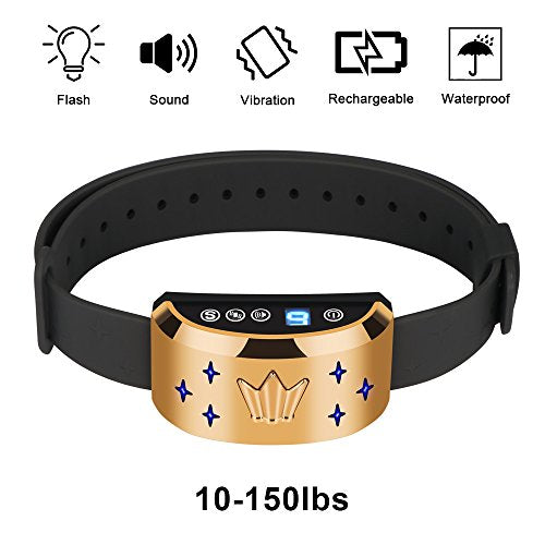 Houkiper Upgraded No Bark Collar Rechargeable NO Shock Anti Bark Collar Support 0-7 Level Beep and Vibration 7 Grade Sensitivity for Small, Medium, Large Dogs TPU Great Training Collar Waterproof