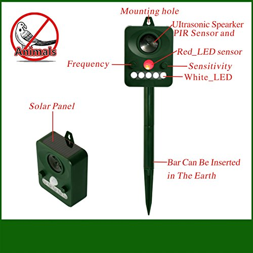 Outdoor Solar Powered Ultrasonic and Weatherproof Animal & Bird Repeller with PIR Sensor Protect Your Lawn Garden
