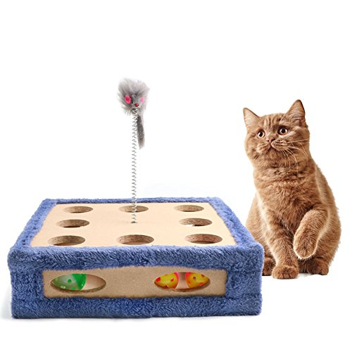 Cat Scratcher Toy, Cat Maze Boxes, Post Pad Interactive Training Exercise Mouse Play Toy With Bell Sounds Ball, Four Cat Toys included, 3 Balls and a Mouse, Great Gift for any Cat, Blue