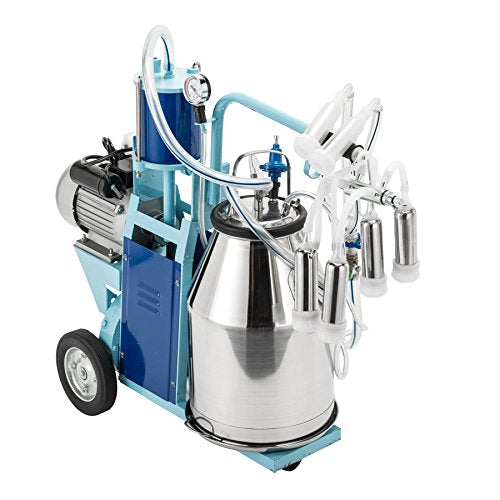 CO-Z Electric Milking Machine Stainless Steel Milker Machine for Cows and Goats w/ 25L Milking Bucket & Milking 10-12 Cows per Hour
