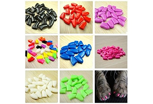 New 20Pcs/Lot Colorful Soft Pet Dog Cats Kitten Paw Claws Control Nail Caps Cover #apowu522# (color: Blue,size: L)