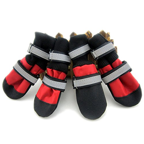 Waterproof Oxford Cloth Dog Shoes 4pcs/set Footwear with Reflective Boots Pet Products Dog Clothes Shoes (Red, XXL)