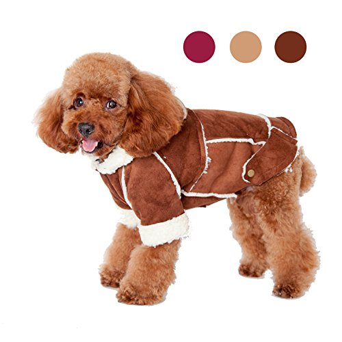 GabeFish Berber Fleece Fashion Classic Warm Coat For Small Medium Dogs Pets Wool Plush Thick Winter Two Legs Jackets Brown Large