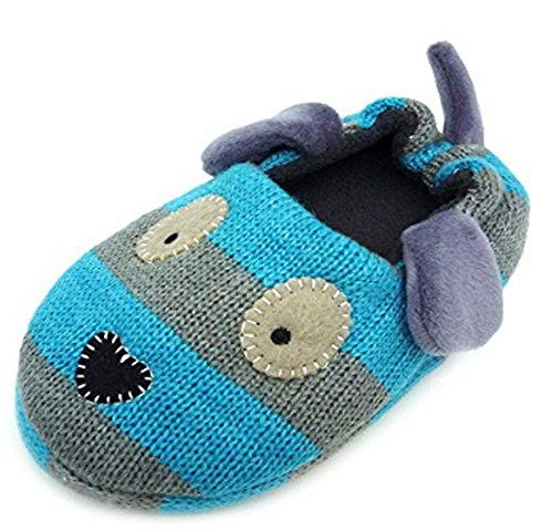 Little Kids Cartoon Slippers Baby Girls Boys Winter Warm Plush Cotton Indoor Shoes Non-slip Ankle Boots, Blue Puppy, 11-12 M US Little Kid