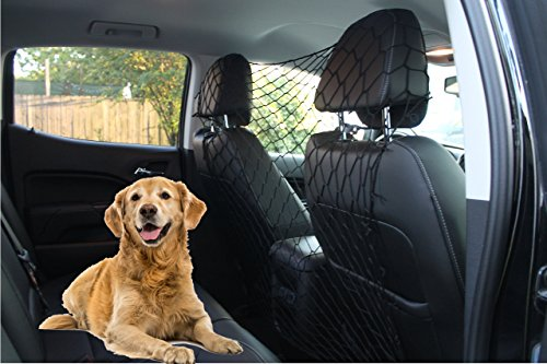 Millerinc Pet Safety Net Barrier for Dogs - adjustable dog barrier net for Car/Truck/SUV/Van - Behind front seats, backseat, or Cargo area coverage