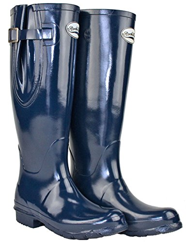 Shires Rockfish Adj Gloss Tall Wellington Boot 8 Navy