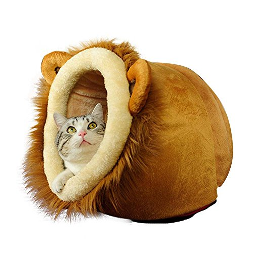 Geekercity Lion Shaped Cute Warm Plush Pet Dog Cat Bed House Condo Cave with Removable Cushion Inside
