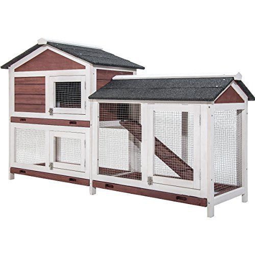 Purlove Pet Rabbit Hutch Wooden House Chicken Coop for Small Animals (Rabbit Hutch #4)
