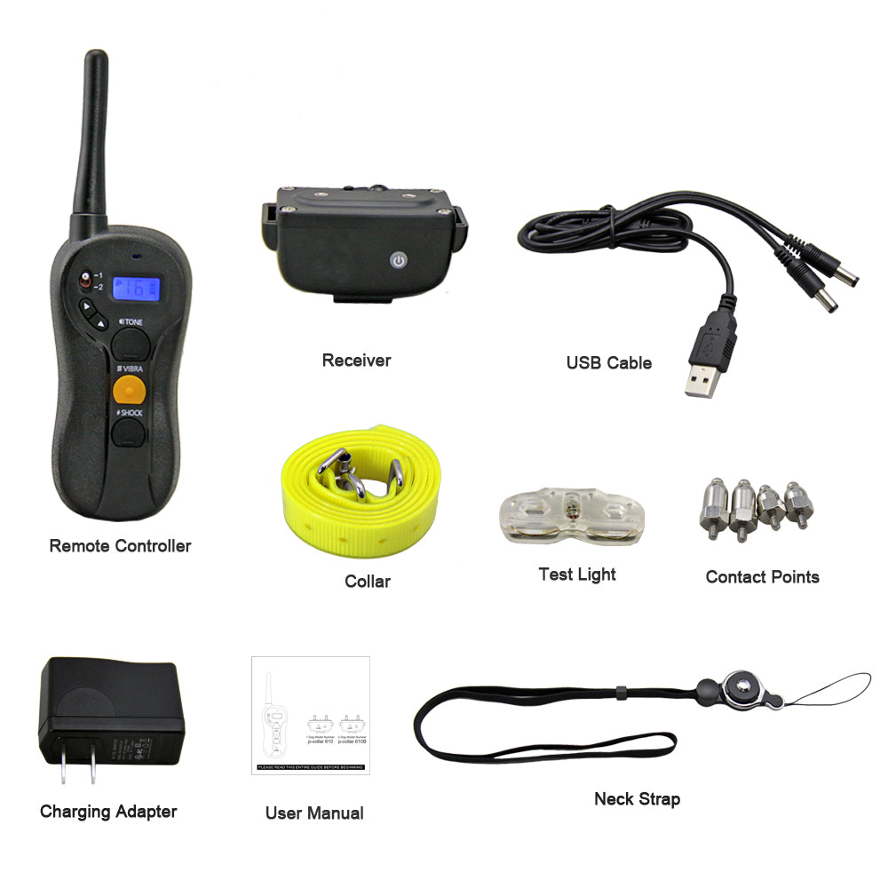600M remote pet dog training collar electric shock collars for dogs Rechargeable IP7 waterproof trainer collar