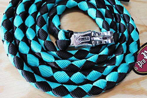 "10 ft Horse Halter Lead Rope Heavy Duty 3/4"" Diameter Panic Snap Teal 60523"