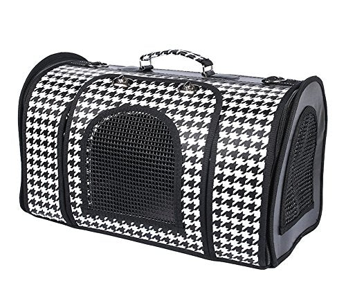 WowowMeow Portable Pet Carrier Travel Bag with Fleece Bed for Small Dogs, Cats and Small Animals (Medium, Black/White)