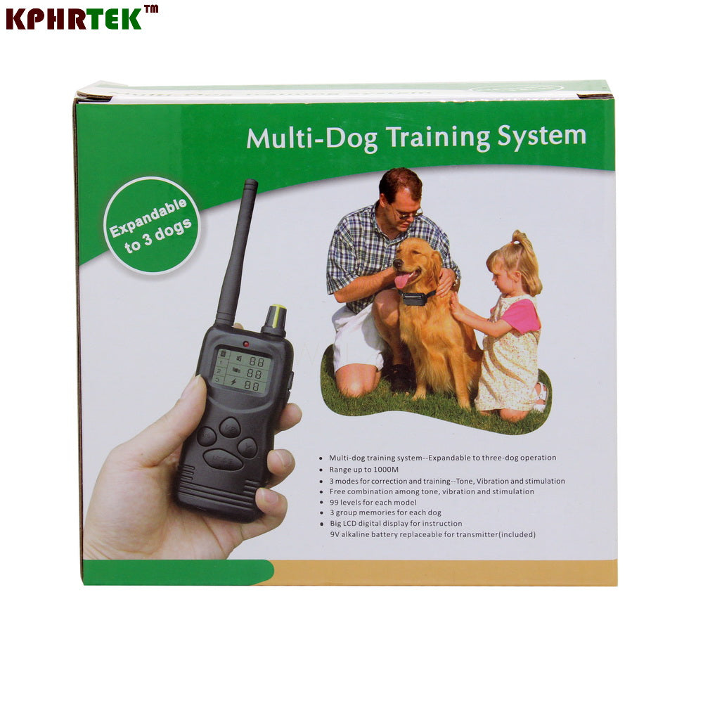 6pcs/lot 1000m Remote dog Shock Training Collar with LCD Display(expandable to 3 dogs)