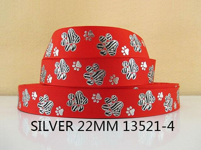"7/8"" (22mm) colors or silver dog footprints Bones polyester printed Grosgrain ribbon wrapping sewing supplies,50Yc1667"