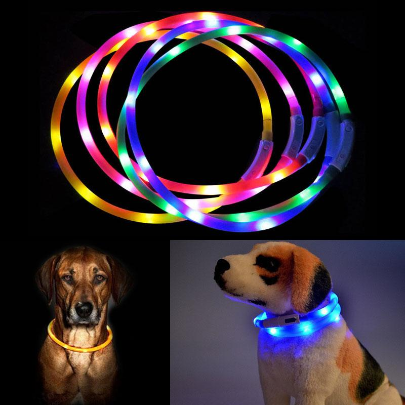 70cm Silicone Adjustable Lighting Glow Dogs Leash Night Safety Harness Collars USB LED Pet Dog Luminous Collar Pets Supplies