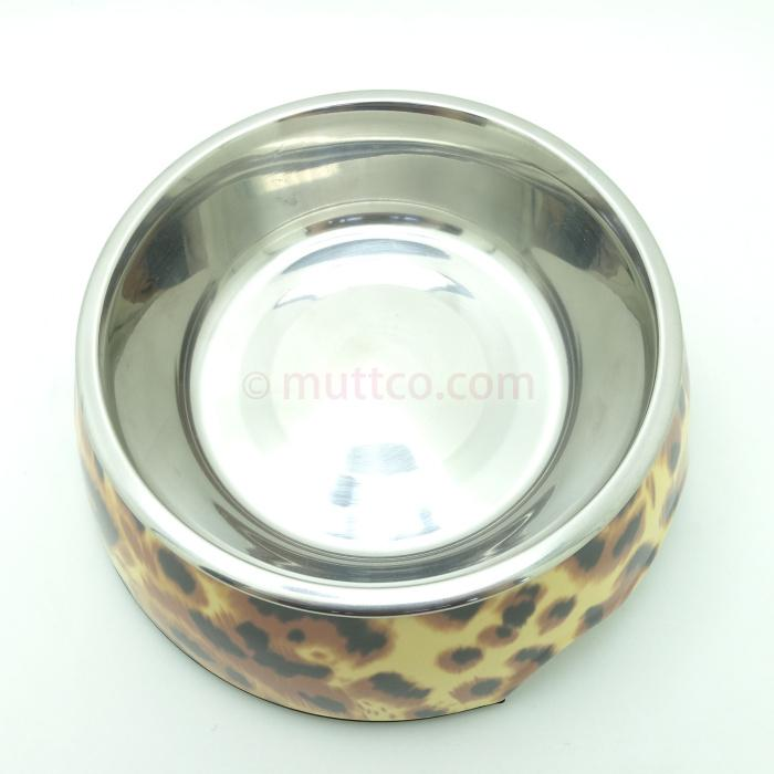 72pcs/lot S size high quality detachable dual antiskid Stainless steel leopard water dog bowl DB-004
