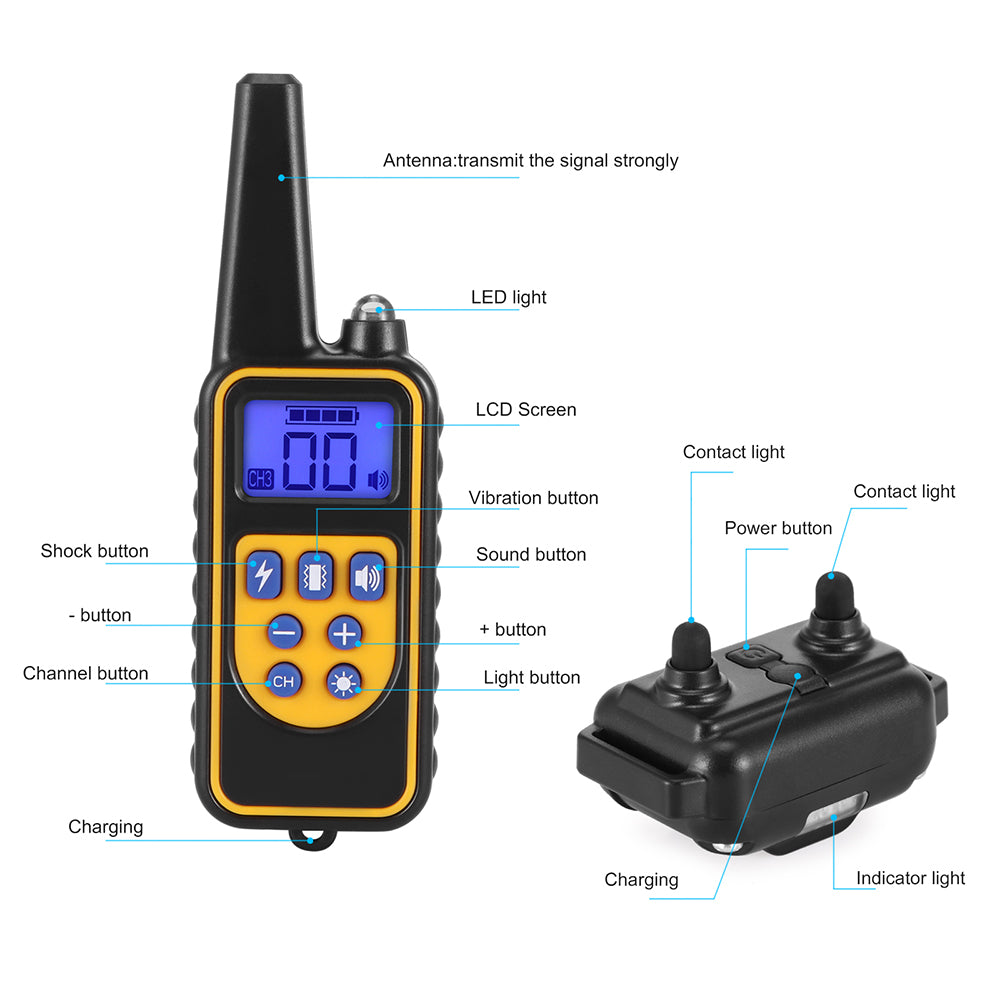 ABEDOE 800M Remote Control Training Collar 99 Level Vibrating/Shock Sound/Light Mode Waterproof IP68 Rechargeable LCD Electric