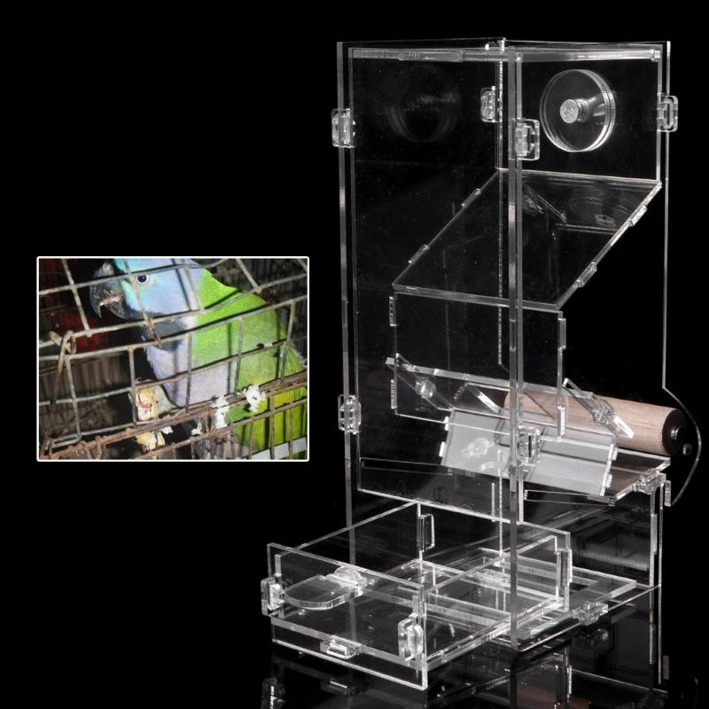 Acrylic Automatic Pet Bird Cage Feeder Food Container