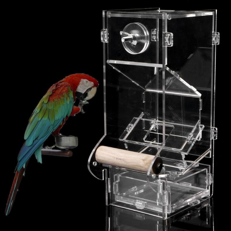 Acrylic Automatic Pet Bird Cage Feeder Food Container Feeding Parrot Cockatiel