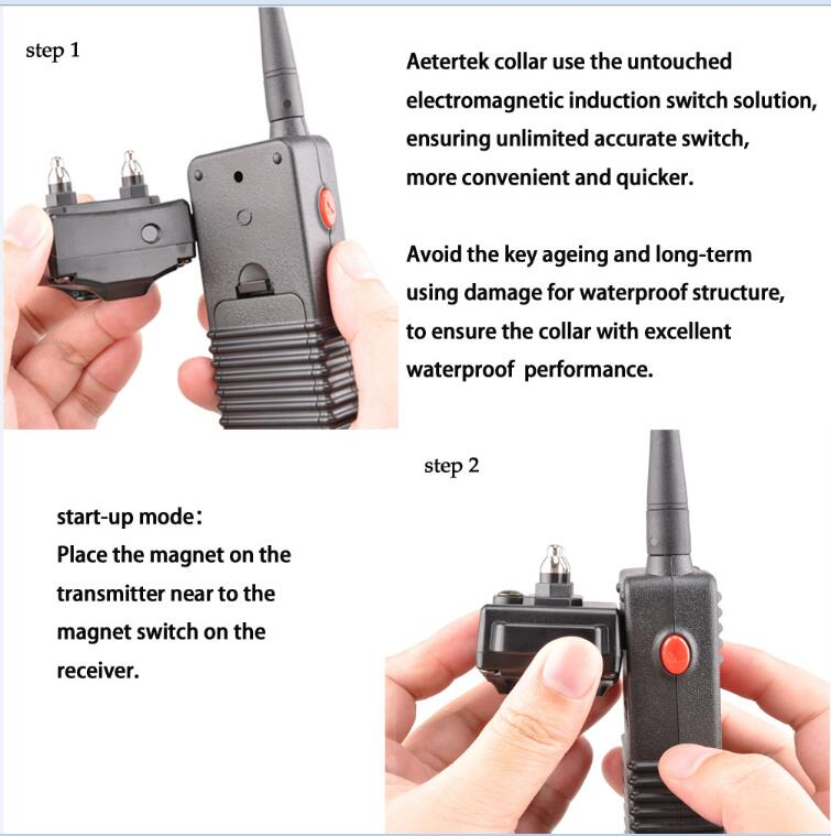 Aetertek Upgrade AT-216D-3 600 Yard Professional Rechargeable Waterproof Remote Dog Training 7 Levels Shock Collar Beep Vibrate