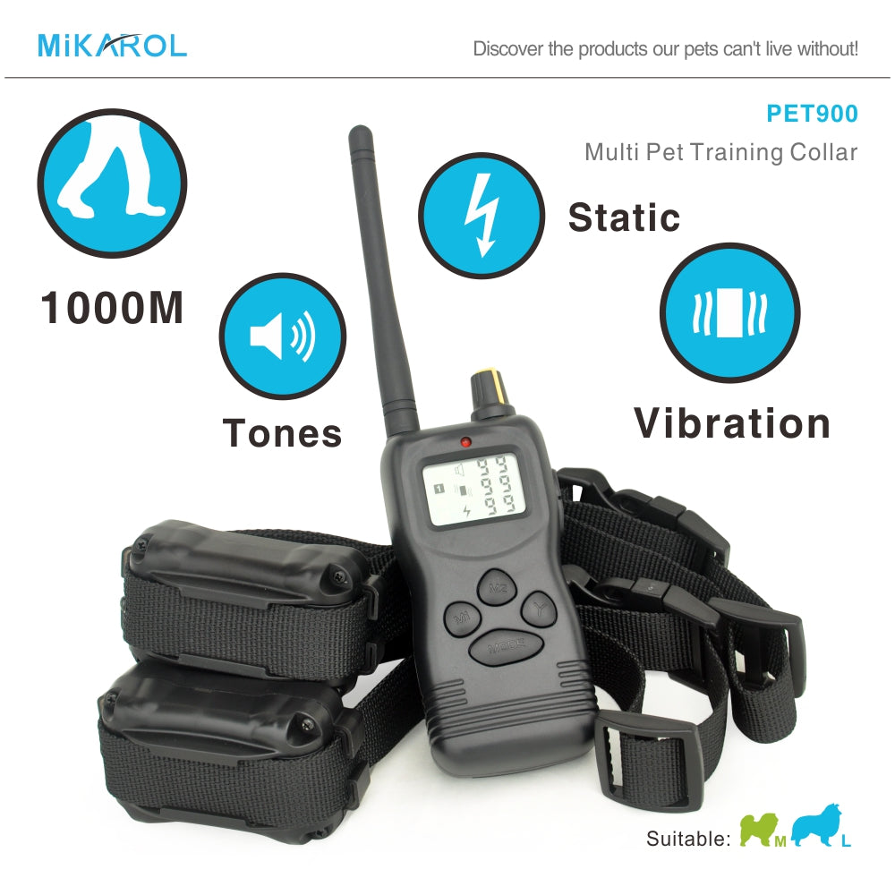 Anti barking stop bark remote shock collar for dog remote electric shock dog training collar 1000m for 2 dogs