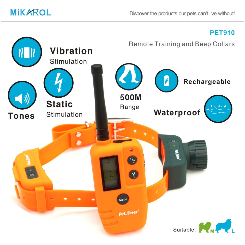 Beeper Dog Collars Pet Shock Vibrating Training Collar Pet Trainer Remote 9 Levels Shock Electric Shock