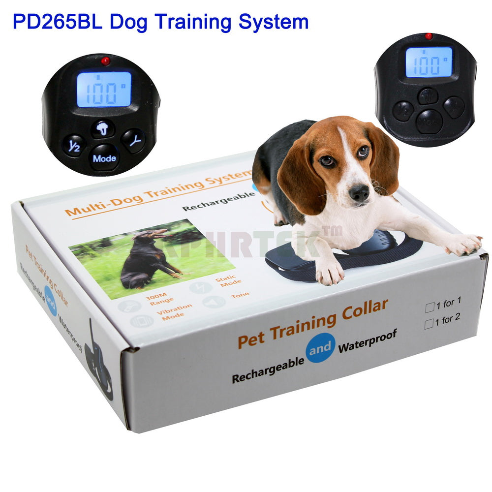 Blue BackLight Remote Control Bark Stop LCD 100LV SHOCK Vibration Rechargeable Waterproof Dog Traininig Collar For 2 Dogs