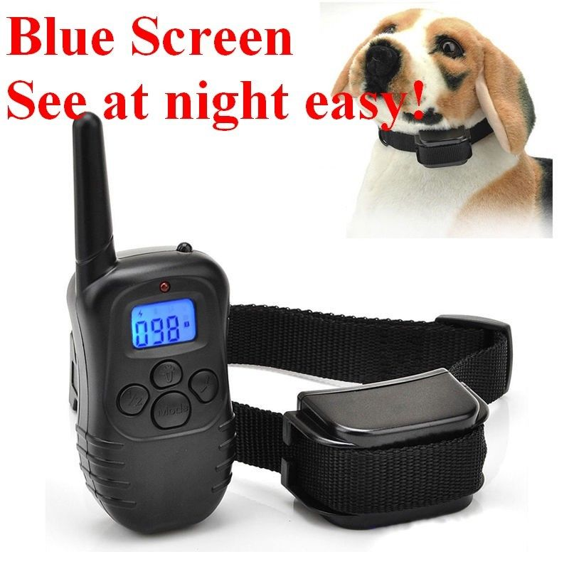 Blue LCD 300 Yard LCD 100LV Level Electric Shock Vibra Pet Dog Training Collar Waterproof rechargeable collar