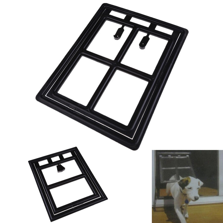 #Cu3  New Fashion Plastic Black Dog Cat Kitty Door for Screen Window Gate for Home Cottage