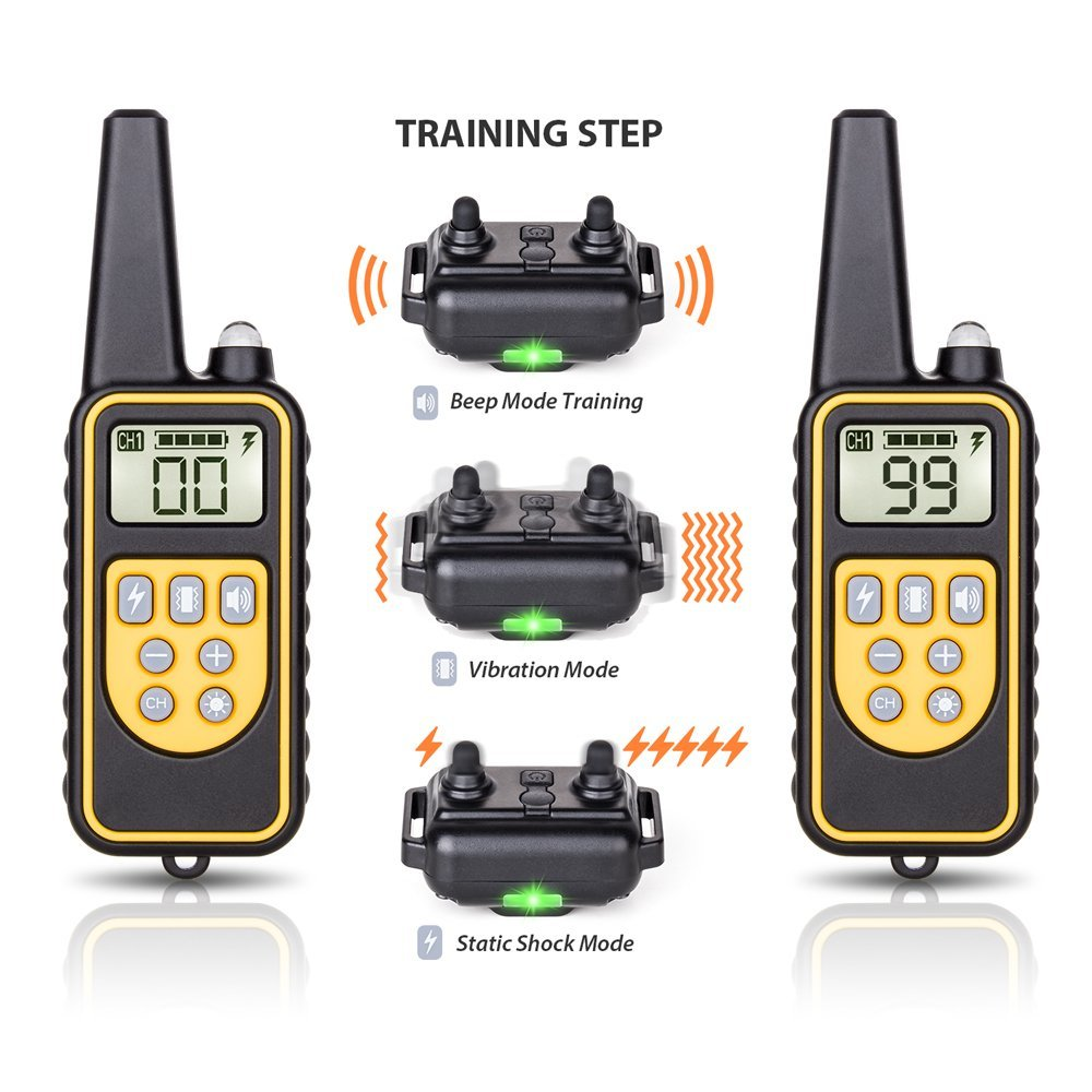 DEIRYLE 800m Dog Training Collar With Remote Waterproof,Electric Shock Collar Dog Training With Vibration/Shock/ Tone  For 3 Dog