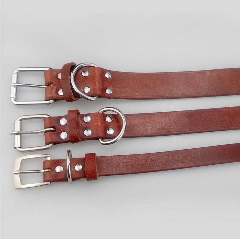 Dog Collars Genuine Leather Buckle Leads Collar Pet Chain Dog Supplies