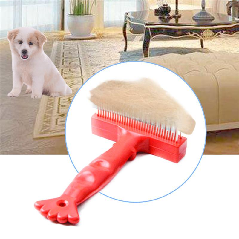 Dog Comb Red Plastic Handle Double Rowed Lobster Model Pet Dog Holdout Opening Knots Comb Stainless Steel Combe for Cat and Dog