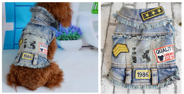 Dog Denim Coat Pet Jean Jacket Outer wear Garment Puppy Clothing Chihuahua Small Dog Clothes mascotas ropa para perros Pet Coat