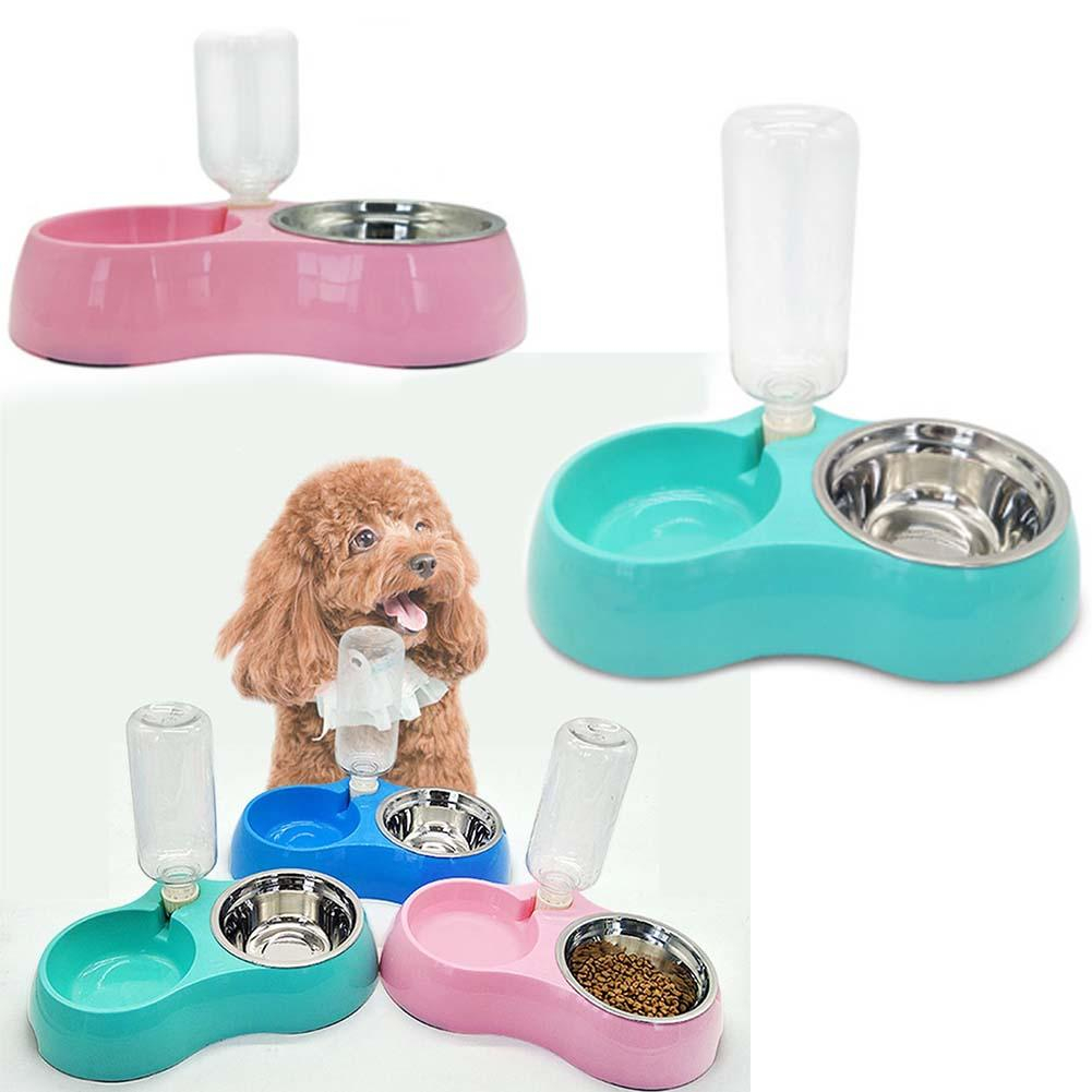 Dog Double Bowl Pet Puppy Cat Feeders Water Dispenser Stainless Steel Dog Supplies Pet Products Accessories Water Bowl