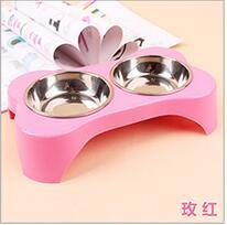 Dog Double bowl Pet puppy Cat Feeders Water Dispenser Plastic Stainless Steel Combo Dog Supplies Pet Products Accessories