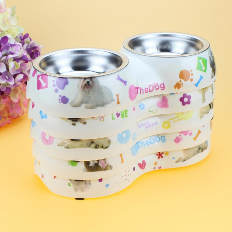 Dog Feeder Double Removable Stainless Steel Dog Bowl With Melamine Plastic Base Pet Dinner Dish Feeding And Watering Supplies