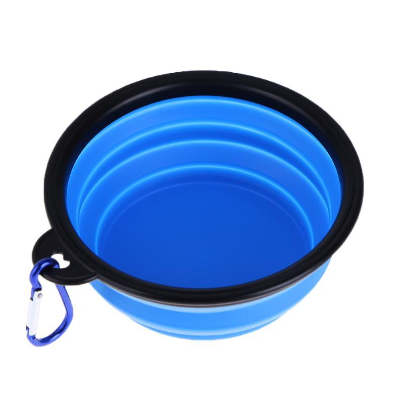 Dog Folding Collapsible Feeding Bowl Silicone Water Dish Cat Portable Feeder Puppy Pet Travel Bowls PTSP
