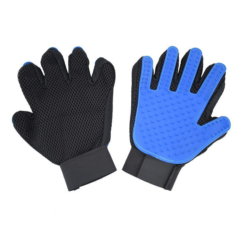 Dog Grooming Blue Glove Comb for Animals Cats Dogs Pet Hair Glove Bath Massage Dogs Hair Removal Right Hand Gloves Brosse Chien