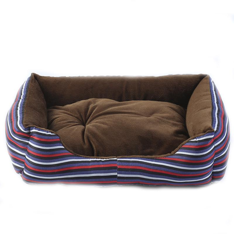 Dog House Bed Winter Warm Striped Wave Point Pattern Pet Nest With Mat Canvas Soft Puppy Cat kennel Pets Products For Small Dogs