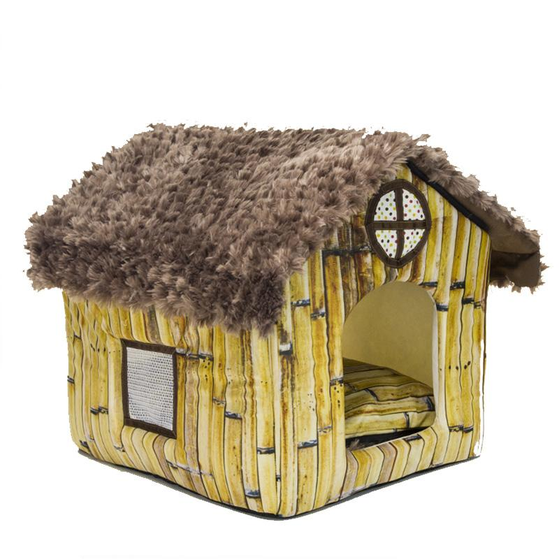 Dog House Creative Bamboo House Shape Pet House Thatched Cottage Hundebett Soft Detachable Beds For Dogs Cama Gato Cuccia Cane