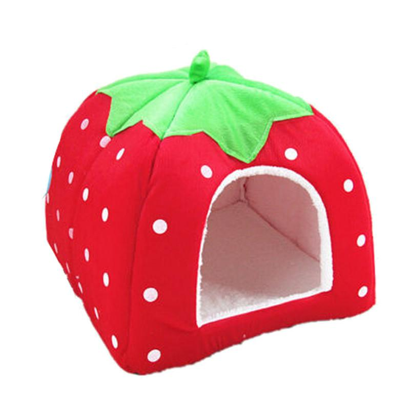 Dog House Foldable Soft Warm Leopard Print Strawberry Cave Dog Bed Pet Dog House Cute Kennel Nest Fleece Cat Tent for Small Dog
