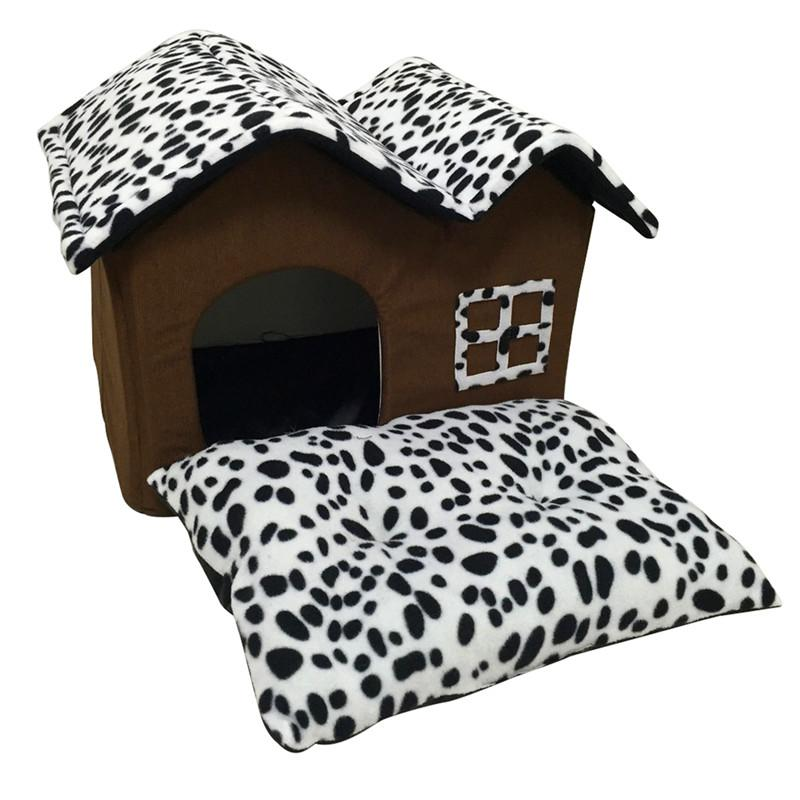 Dog House Folding Dog Bed For Large Dog House With Mat Pets Product Cats House Kennel Pet Puppy Cat Bed House Winter Warm