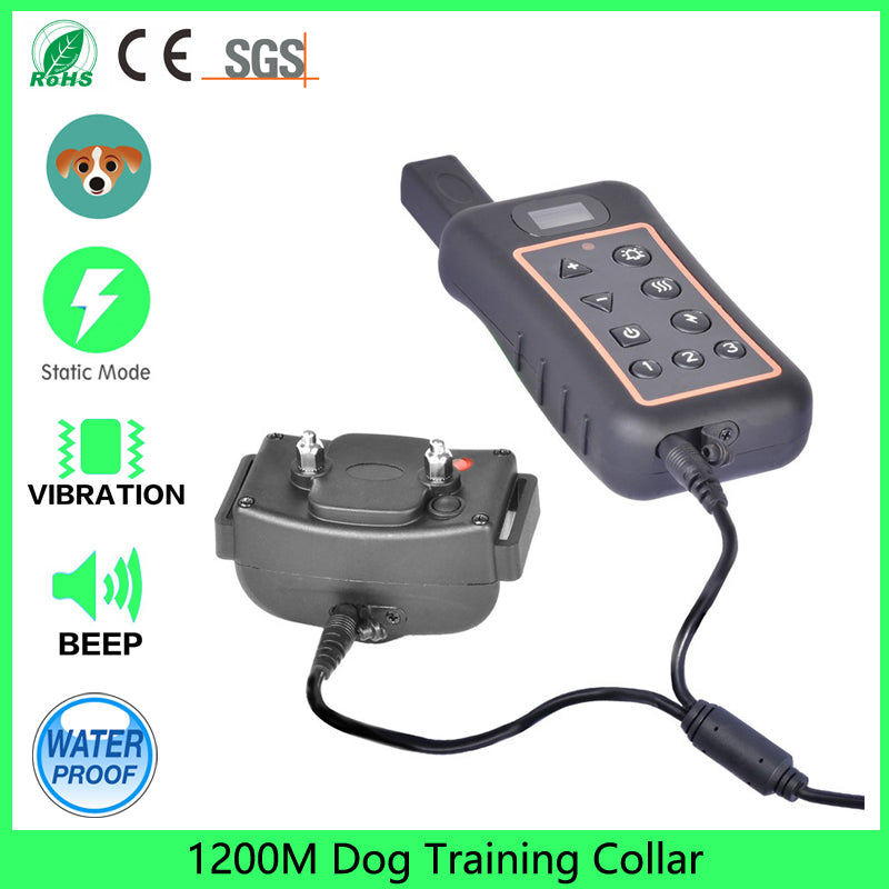 Dog Training Collar, Shock/Vibration/Beep Remote 1200m Waterproof All Size Dogs Electric Bark Collar